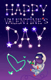 Astronaut in outer space. Card for a Valentine day with an astronaut in space drawing heart with tube of paste and the sky full of stars forming a message Stock Image