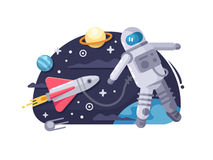 Astronaut in outer space. Cosmonaut flying in cosmos near the spacecraft. Vector illustration royalty free illustration