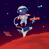Astronaut in outer space. Illustration with an astronaut floating in outer space over Mars near the space station and shuttle stock illustration