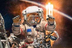 Astronaut in outer space. royalty free stock photo