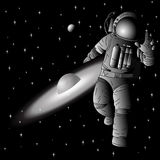 Astronaut in outer space planet in the background.  Royalty Free Stock Photos