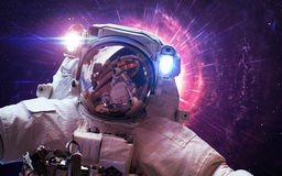 Astronaut in outer space. Spacewalk. Elements of this image furnished by NASA. Elements of this image furnished by NASA Royalty Free Stock Photo