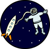 Astronaut in the outer space vector illustration Royalty Free Stock Images