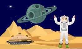 Astronaut på den främmande planeten vektor illustrationer