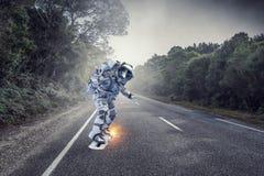 Astronaut på flygbräde Blandat massmedia Royaltyfria Bilder