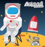 Astronaut på månen, lägenhetdesign, teckendesign Fotografering för Bildbyråer