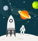 Astronaut på månen med raket Royaltyfri Bild