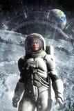 Astronaut på månen och den främmande manöverenheten Royaltyfri Foto