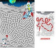Astronaut på måneståenden royaltyfri illustrationer