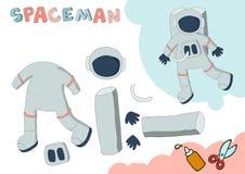 Astronaut Paper Model Litet hem- hantverkprojekt, DIY-papperslek Klipp ut och limma Utklipp för barn kantlagrar låter vara vektor vektor illustrationer