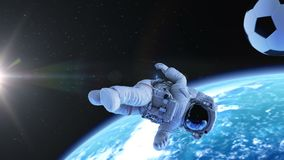Astronaut Performs Bicycle Kick im Weltraum stock video footage