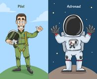 Astronaut And Pilot Characters royaltyfri illustrationer
