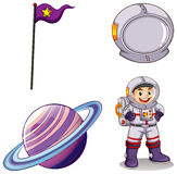 An astronaut, a planet, a banner and a helmet Stock Photography