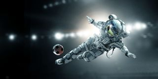 Astronaut player soccer game Stock Photo