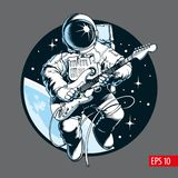Astronaut playing electric guitar in space. Space tourist. Vector illustration. Astronaut playing electric guitar in space. Space tourist. Comic style vector stock illustration
