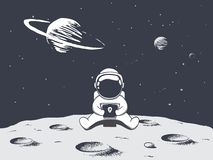 Astronaut playing games on smartphone. Space vector illustration.Prints design stock illustration