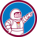 Astronaut Pointing Front Circle Cartoon Royalty Free Stock Images