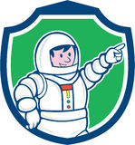 Astronaut Pointing Front Shield Cartoon Lizenzfreie Stockbilder