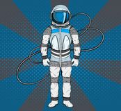 Astronaut in pop art style. Cosmonaut on blue background for your design. Stock Photo