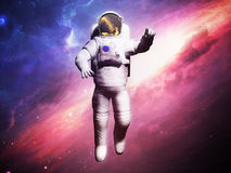 Astronaut posing on space background 3d render image Royalty Free Stock Image