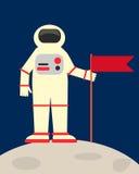 Astronaut puts a flag. On the moon Stock Photos