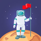 Astronaut with red flag on moon. Cosmonaut in space suit Royalty Free Stock Photos