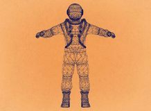 Astronaut - Retro Architect Blueprint stock illustration