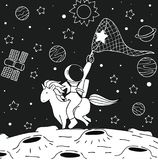 Astronaut ride unicorn stock illustration