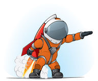 Astronaut on the rocket Stock Images