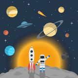 Astronaut with a rocket on the background of the stars and plane. An astronaut with a rocket on the background of the stars and planets of the solar system and stock illustration