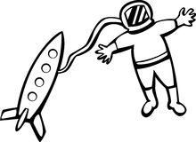 Astronaut with rocket ship vector illustration Stock Photo