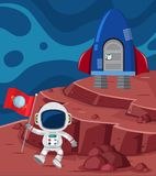 Astronaut and rocketship on planet. Illustration Royalty Free Stock Images