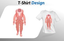 Astronaut in rode ruimtepak het lopen t-shirtdruk Spot op het malplaatje van het t-shirtontwerp Vectordiemalplaatje, op wit wordt Stock Afbeeldingen