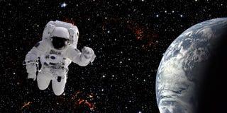 Astronaut in ruimte stock afbeelding