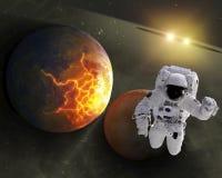 Astronaut in ruimte Stock Afbeeldingen