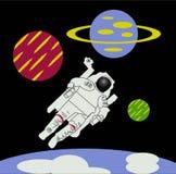 Astronaut in ruimte met planeten stock illustratie
