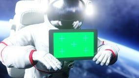 Astronaut in ruimte met tablet, monitor het 3d teruggeven Stock Afbeeldingen