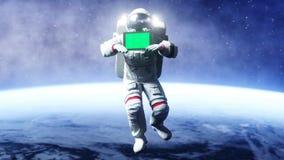 Astronaut in ruimte met tablet, monitor het 3d teruggeven Royalty-vrije Stock Afbeeldingen