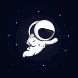 Astronaut in ruimte onder de sterren op een donkere achtergrond stock illustratie
