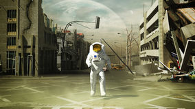 Astronaut in a ruined city background in post apocalypse style 3. D render Stock Photography