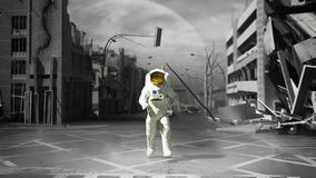 Astronaut in a ruined city background in post apocalypse style 3. D render Royalty Free Stock Image
