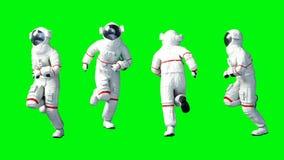 Astronaut run . Green screen. Realistic 4k animation.