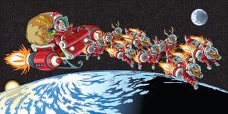 Astronaut Santa Claus And Reindeer In Orbit Royalty Free Stock Image