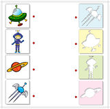 Astronaut, satellite, planet and spaceship. Educational game for Stock Image