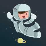Astronaut scientist in space  illustration cartoon character Royalty Free Stock Images
