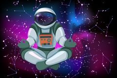 Astronaut sitting in lotus position, meditating, relaxing floating in space stock illustration