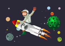 Astronaut sitting on the rocket flying in space Royalty Free Stock Photography