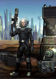 Astronaut soldier. An astronaut soldier with a futuristic city in background in 3d Stock Photos