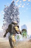 Astronaut soldier and alien city. 3D render science fiction illustration Stock Image