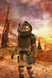 Astronaut soldier on alien planet stock illustration